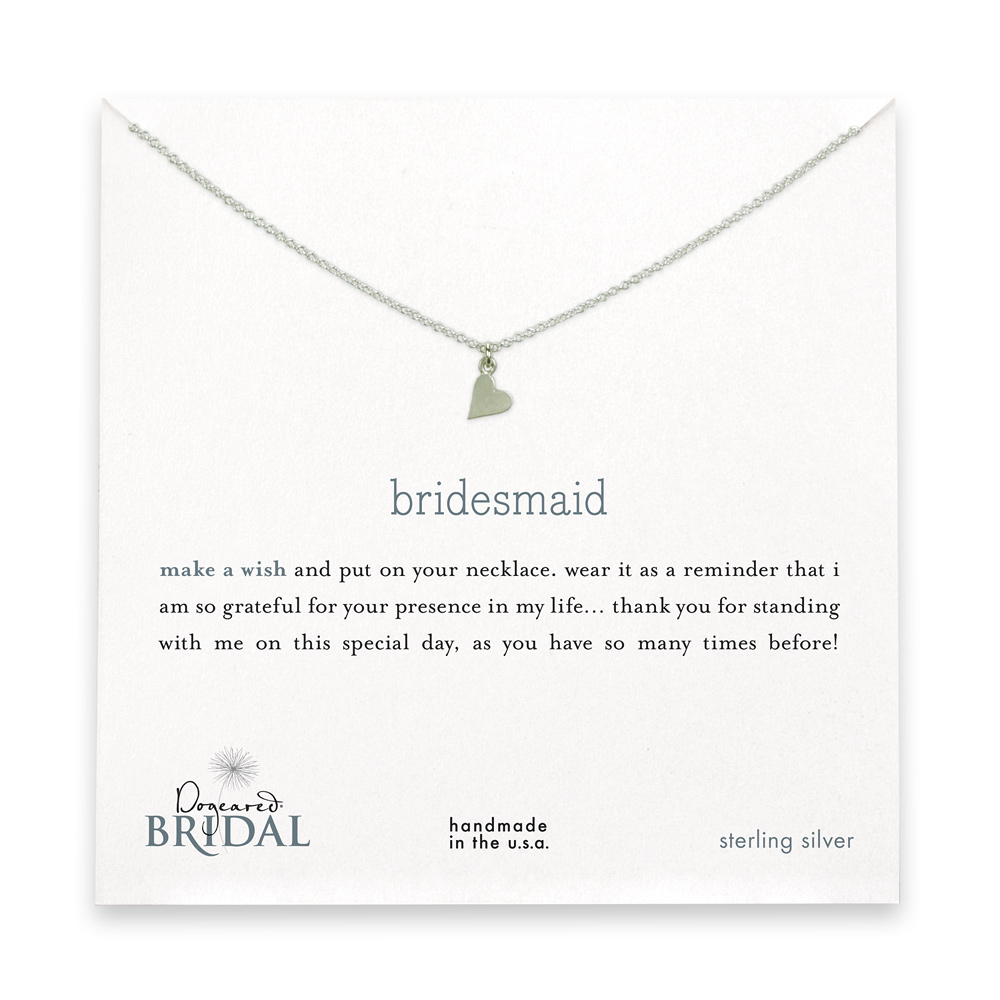 16 inches bridesmaid reminder bridal necklace with sideways heart
