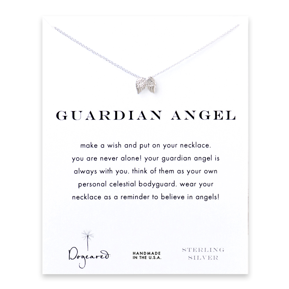 guardian angel reminder necklace with sterling silver angel wings