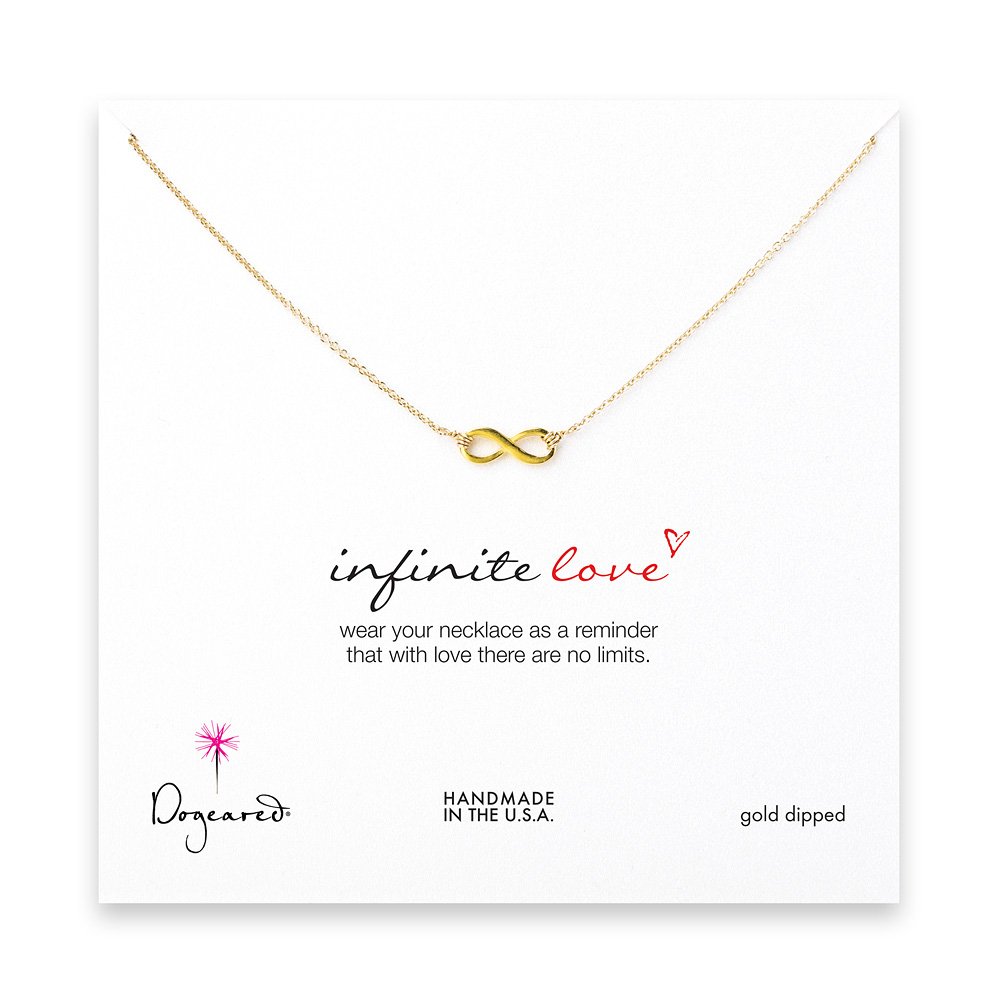16 inches small gold dipped infinite love necklace