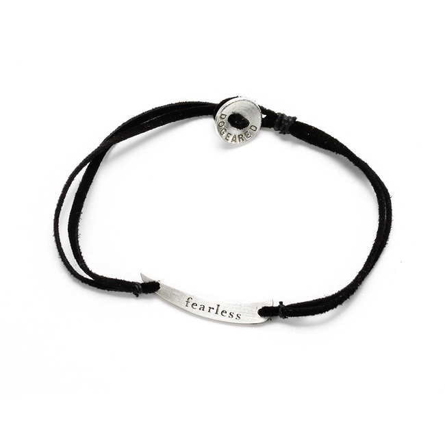 fearless mantra sterling silver horn on 7 inch ebony suede bracelet