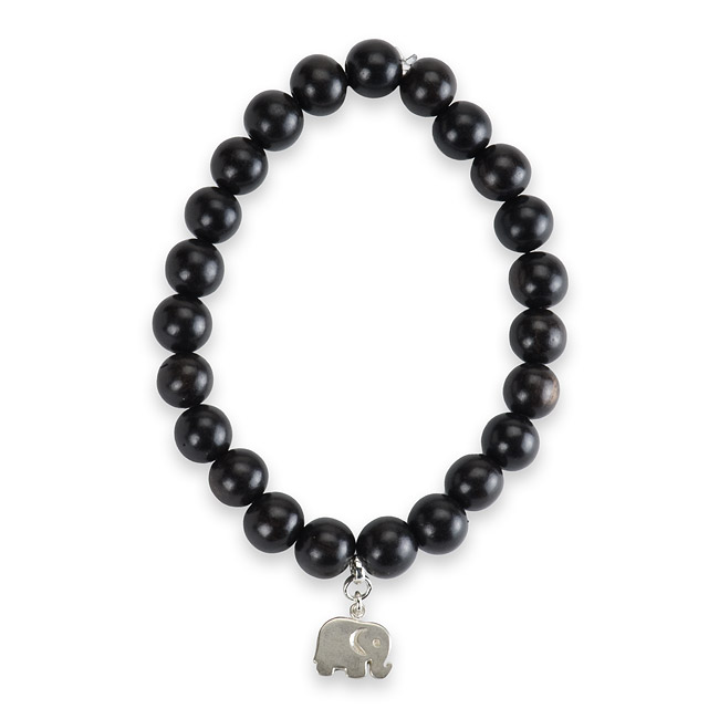 8mm ebony wood bracelet with sterling silver elephant charm 7 inch by Rosa Faia By Anita - Ocean