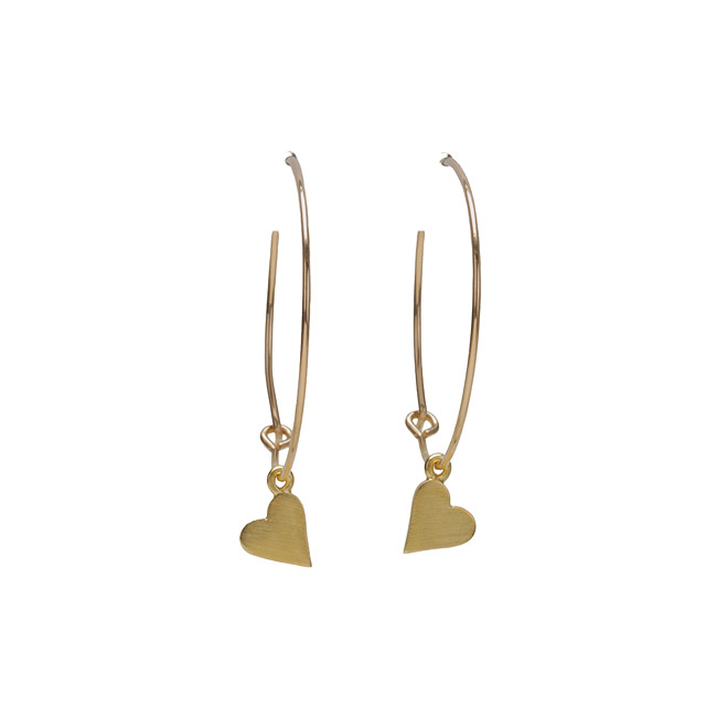 modern word karma 1 inch gold dipped heart hoop earrings
