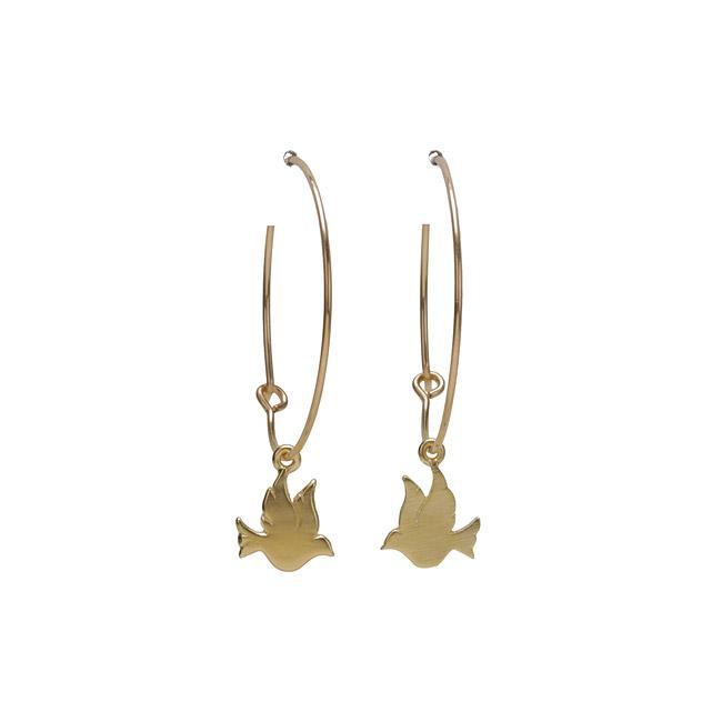 modern word peace 1 inch gold dipped dove hoop earrings