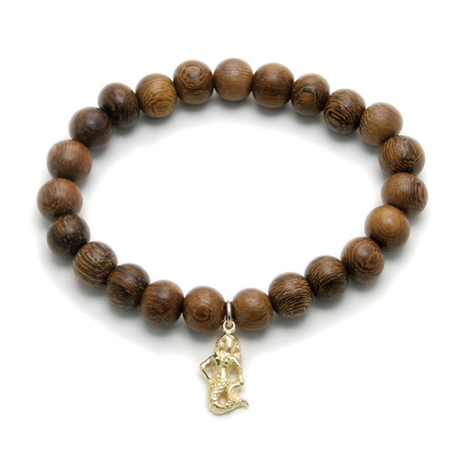 wood bracelet in teak with gold dipped mermaid
