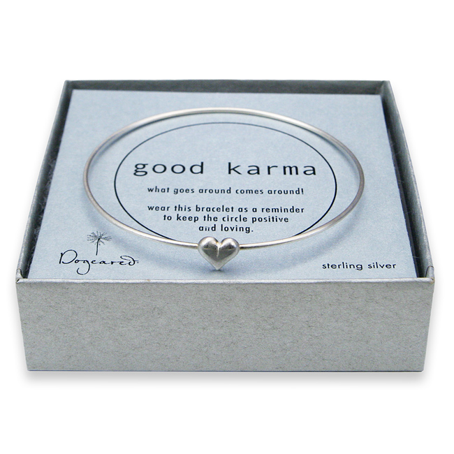 good karma bangle sterling silver with cupid heart charm