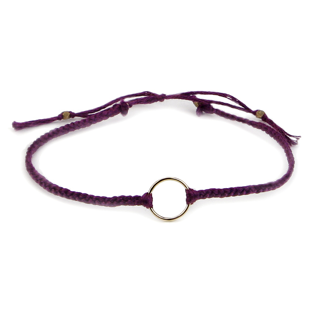 karma friendship bracelet gold dipped on plum thread