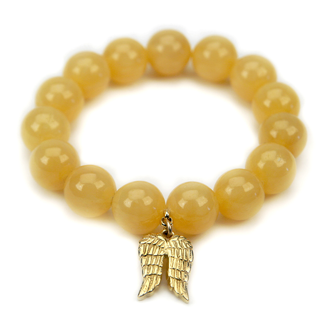 yellow jade large goddess bracelet with angel wings