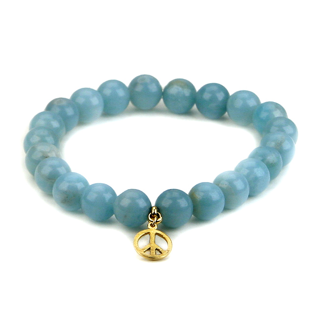 amazonite small goddess bracelet with peace sign