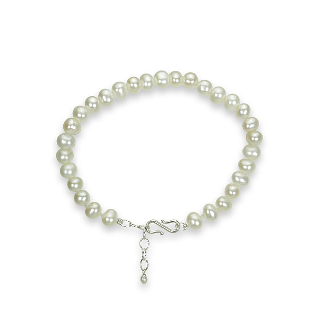 7 inch bridal 4-5.5mm white large pearl strand bracelet with sterling silver clasp