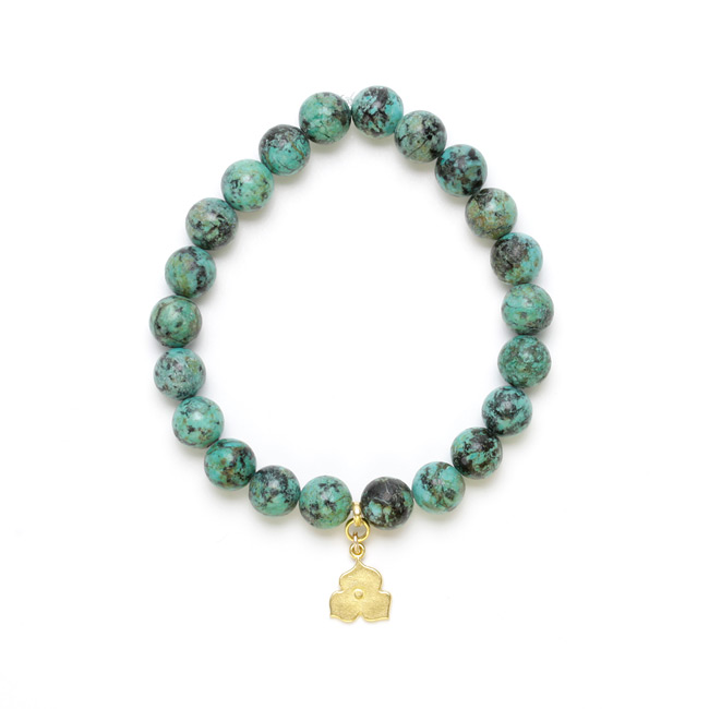 7 inch turquoise small goddess bracelet with 8mm sweet blossom