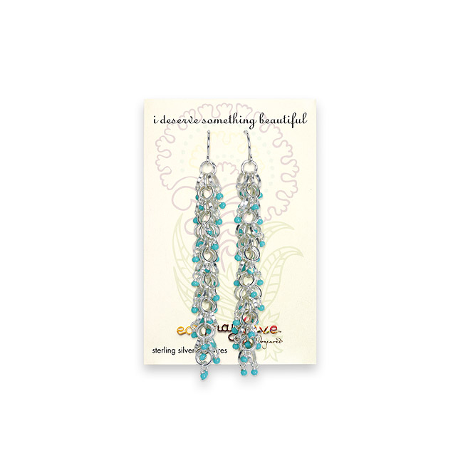 2.5 inch sterling silver cascading 2mm turquoise bead earrings