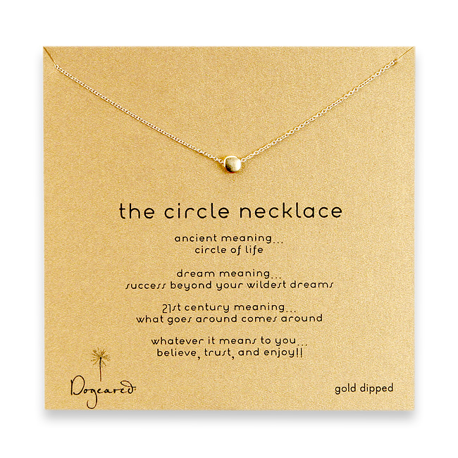 16 inches gold dipped necklace with 5 mm matte circle charm