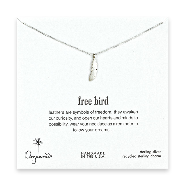 free bird 18 inch sterling silver feather necklace