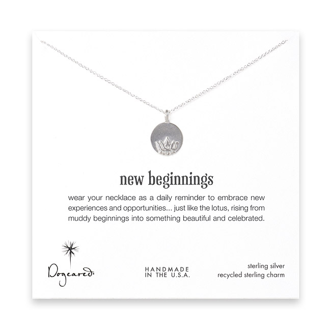 18 inches sterling silver new beginnings 1/2 inches lotus disc necklace