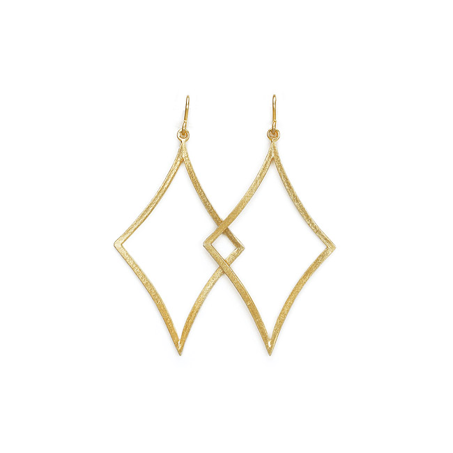 2.5 x 1.5 inch open diamond shape gold dipped hoops earrings