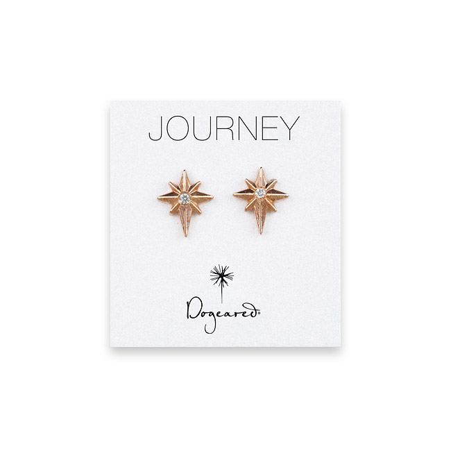 journey 1.5mm faceted diamond 9mm rose gold dipped stud earrings