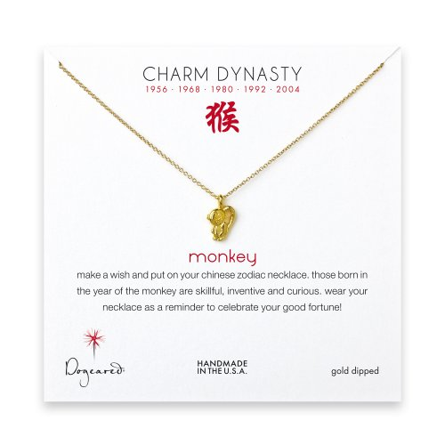 year of the monkey charm necklace, gold dipped