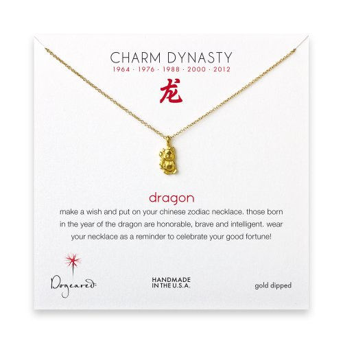 year of the dragon charm necklace, gold dipped
