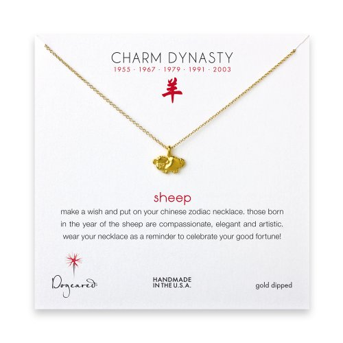 year of the sheep charm necklace, gold dipped