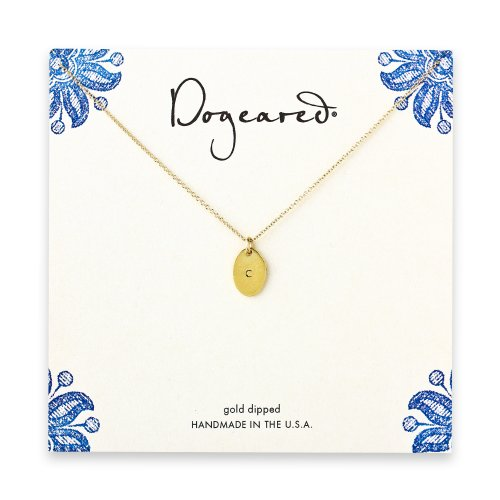 dogeared gold dipped initial necklace - letter c