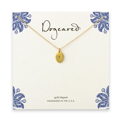 dogeared gold dipped initial necklace - letter t