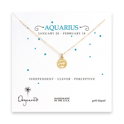 aquarius zodiac gold dipped necklace