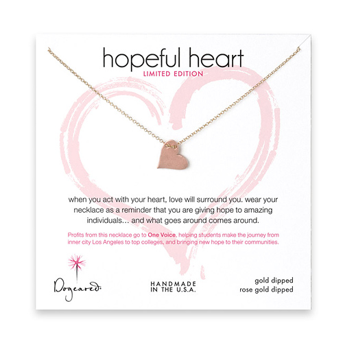 limited edition hopeful heart karma necklace with rose gold dipped heart