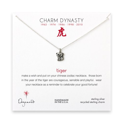 year of the tiger charm necklace, sterling silver