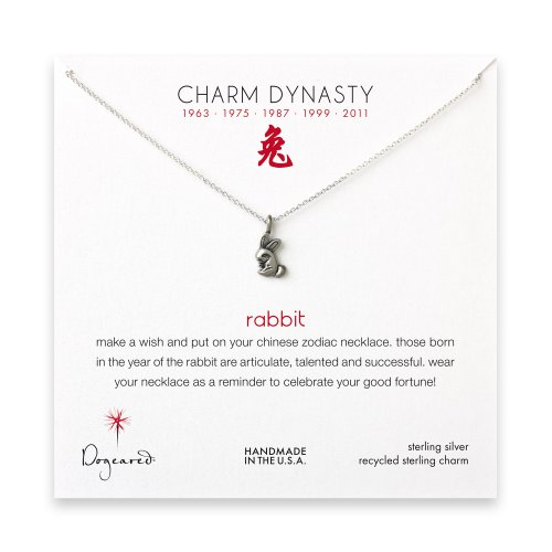 year of the rabbit charm necklace, sterling silver