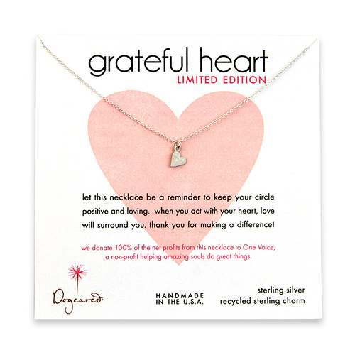 sterling silver limited edition grateful heart necklace with sideways heart