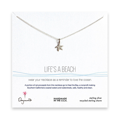 life's a beach sterling silver necklace with starfish - 18 inches