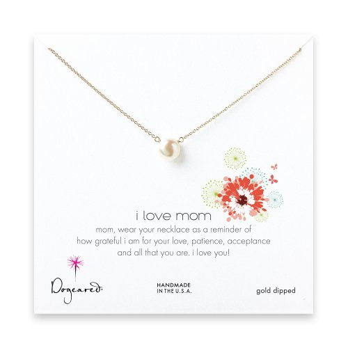I love mom pearl necklace, gold dipped