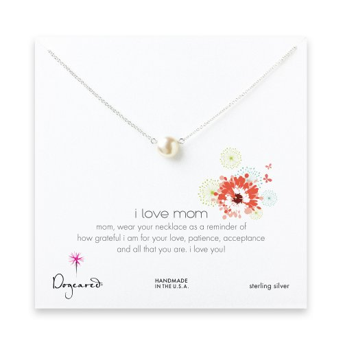 I love mom pearl necklace, sterling silver