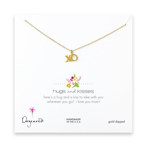 hugs and kisses necklace, gold dipped