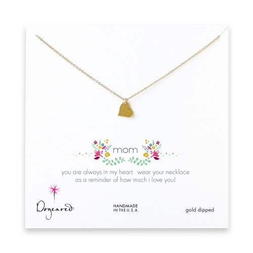 mom sparkle heart necklace, gold dipped