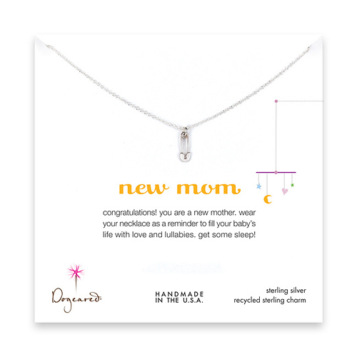 new mom necklace with sterling silver safety pin
