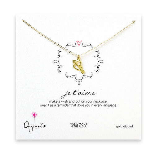 je t'aime gold dipped necklace
