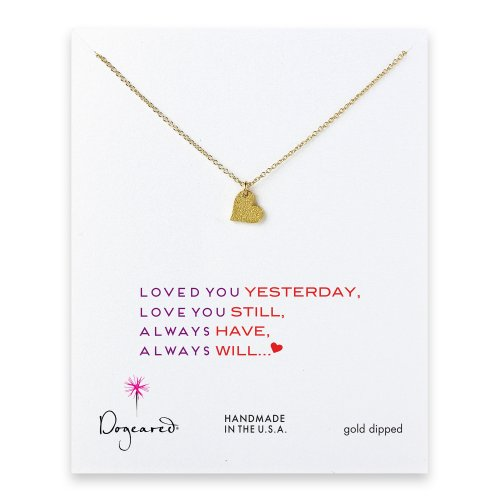 love collection sparkle heart necklace, gold dipped