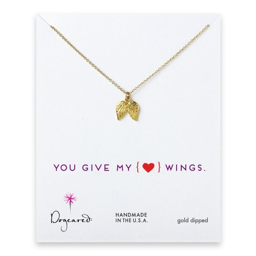 love collection angel wings necklace, gold dipped