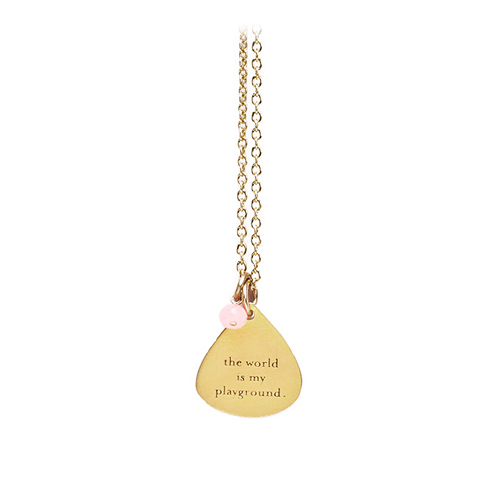 the world is my playground mantra necklace with pink jade bead