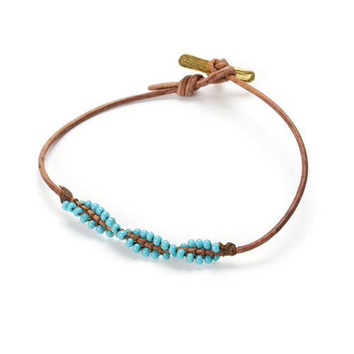 friendship twisted teak leather bracelet with turquoise beads