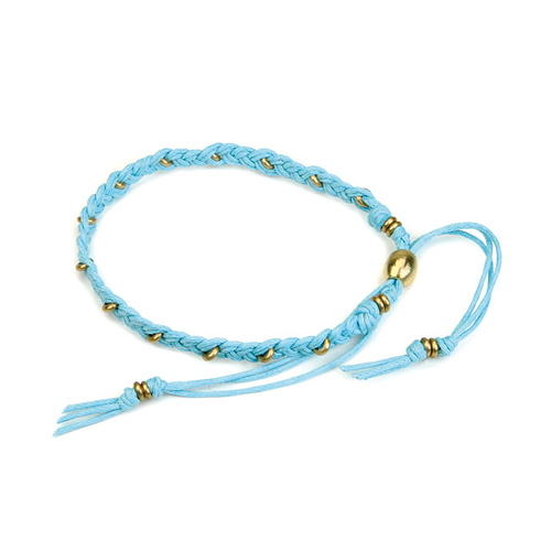 friendship bracelet with brass washers on turquoise waxed cotton