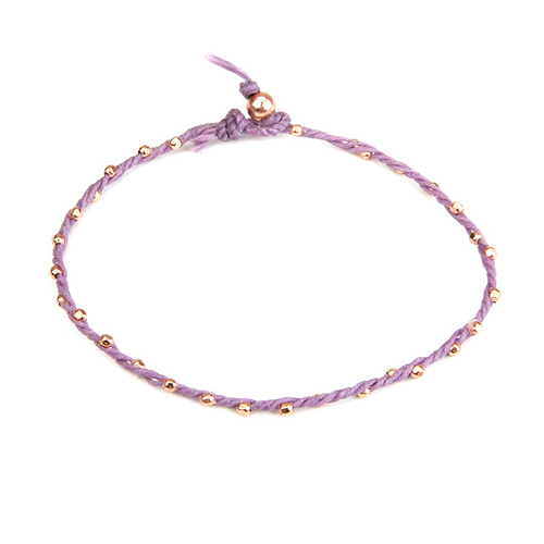 sparkle twisted strand rose gold dipped bracelet on lilac irish linen