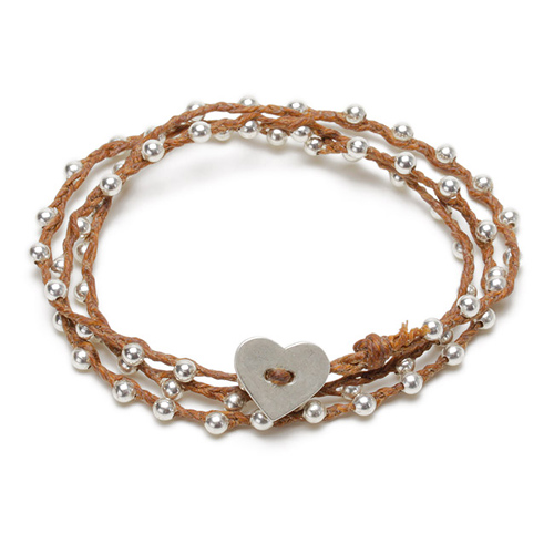 sparkle wrap bracelet with sterling silver heart closure on tobacco irish linen
