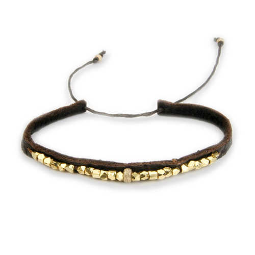 sparkle leather bracelet with gold dipped beads
