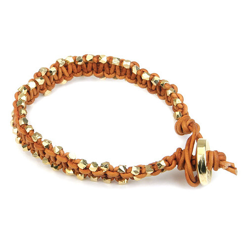 medium burnt orange leather bangle bracelet with gold dipped beads