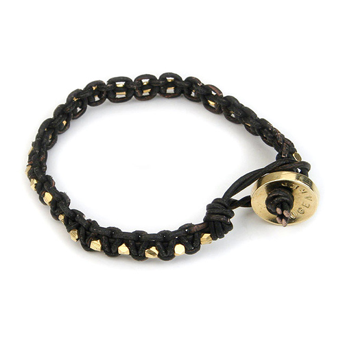 small black leather bangle bracelet with gold dipped beads