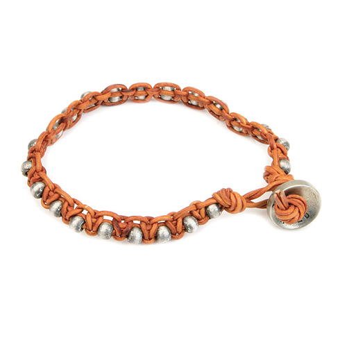 burnt orange leather bangle bracelet with oxidized round beads