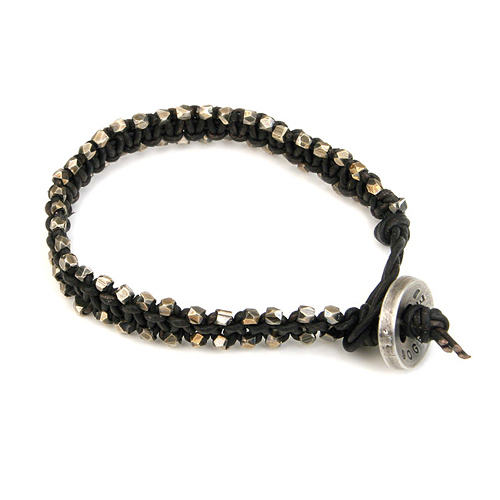 medium black leather bangle bracelet with oxidized beads