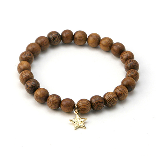 wood bracelet in teak with gold dipped lucky star